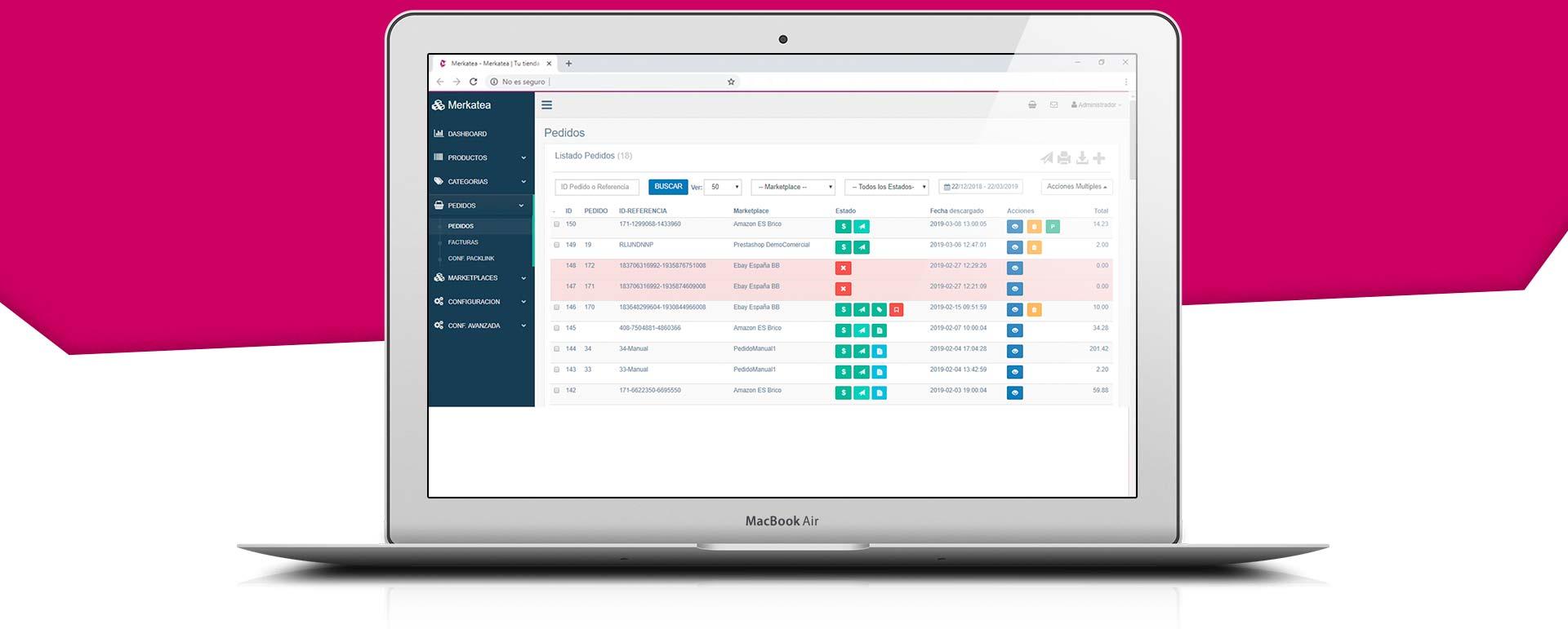 Interface Merkatea - Gestión de pedidos
